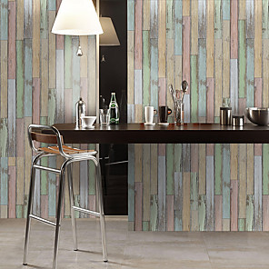 cheap Wall Stickers-Simulation Fir Pattern Floor Stickers Color Wall Stickers Pvc Waterproof Wear-resistant Thickening Stickers Rainbow Color Wood Grain