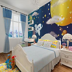 olcso Tapéta-egyéni öntapadós 3d háttérkép falfestmény repülőgép gyerekeknek rajzfilm stílusú, hálószoba gyerekszoba tájkép lakberendezési anyag ragasztó szükséges