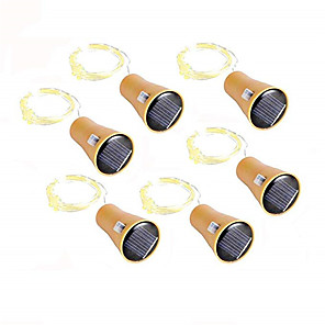 cheap LED String Lights-10pcs 6pcs 2pcs 20LED Garland Solar Wine Bottle Lights 2m Solar Cork Fairy Lights Christmas Light Copper Garland Wire String