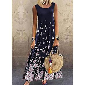 cheap novelty kitchen tools-Women's A-Line Dress Maxi long Dress - Sleeveless Floral Print Summer Casual Daily 2020 Navy Blue M L XL XXL XXXL