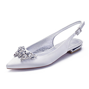 cheap Wedding Shoes-Women's Wedding Shoes Spring / Summer Flat Heel Pointed Toe Classic Sweet Wedding Party & Evening Rhinestone / Crystal Solid Colored Satin White / Black / Purple