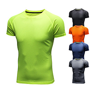 cheap TWS True Wireless Headphones-Men's Running T-Shirt Short Sleeve Ice Silk Breathable Quick Dry Moisture Wicking Fitness Gym Workout Running Walking Jogging Sportswear Solid Colored Tee Tshirt Black Orange Green Navy Blue Gray