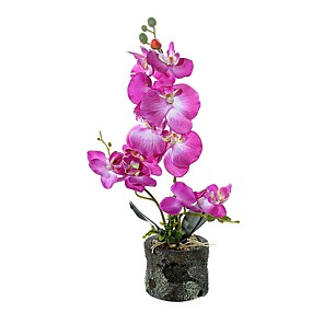 cheap Artificial Plants-Three Fabric Phalaenopsis Bonsai With Foam Basin Overall Height 45cm, Flower Pot Height 8.5cm, Flower Pot Diameter 10cm