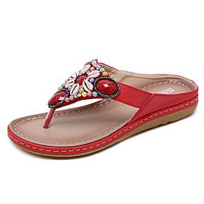 cheap Women's Sandals-Women's Slippers & Flip-Flops Summer Flat Heel Round Toe Daily PU Almond / Black / Red