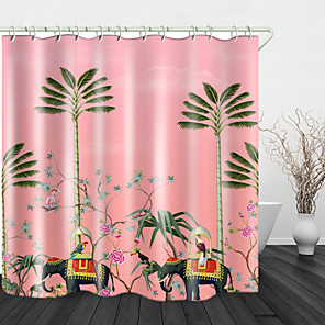 cheap Shower Curtains-Painting Elephant Coconut Tree Digital Print Waterproof Fabric Shower Curtain for Bathroom Home Decor Covered Bathtub Curtains Liner Includes with Hooks