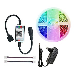 cheap LED Strip Lights-LED Strip Light RGB 5050 300 leds light strip RGB 5M  bluetooth Music Remote Adapter 12V 3A