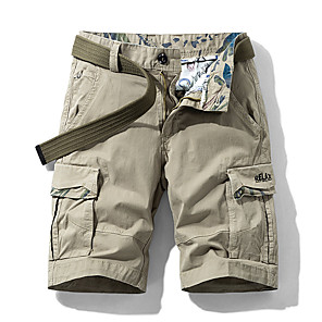 "cheap Hiking Trousers & Shorts-Men's Hiking Shorts Hiking Cargo Shorts Solid Color Summer Outdoor 10"" Standard Fit Breathable Quick Dry Sweat-wicking Multi-Pocket Elastane Cotton Shorts Bottoms Dark Grey Army Green Light Grey Khaki"