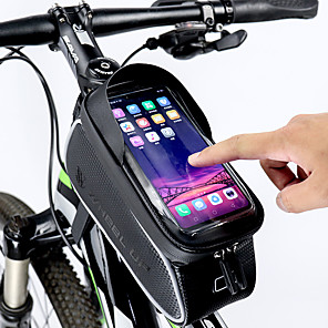 billige Bilholder-Wheel up Mobiltelefonetui Taske til stangen på cyklen 6 inch Touch Screen Reflekterende Vandtæt Cykling for Alle Mobil iPhone X iPhone XR Sort Vejcykel Mountain Bike / iPhone XS / iPhone XS Max