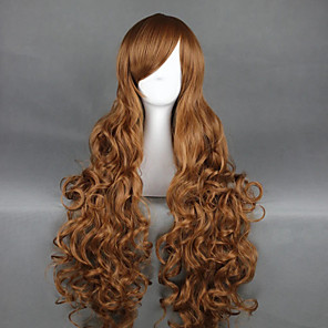 cheap Costume Wigs-Cosplay Wig Hetalia Axis Powers Curly Cosplay Asymmetrical With Bangs Wig Very Long Brown Synthetic Hair 36 inch Women's Anime Cosplay Best Quality Brown