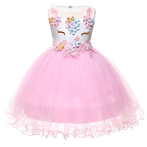 cheap Movie & TV Theme Costumes-Princess Unicorn Outfits Flower Girl Dress Girls' Movie Cosplay A-Line Slip White / Purple / Pink Dress Children's Day Masquerade Polyester