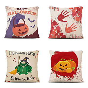 cheap Throw Pillow Covers-4 pcs Cotton Polyester Pillow Cover, Snowflake Pumpkin Classic Halloween Square Polyester Traditional Classic