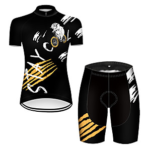 cheap Cycling Jersey & Shorts / Pants Sets-21Grams Women's Short Sleeve Cycling Jersey with Shorts Nylon Polyester Black / White Animal Mouse Bike Clothing Suit Breathable 3D Pad Quick Dry Ultraviolet Resistant Reflective Strips Sports Animal