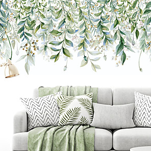 cheap Wall Stickers-Meandering Green Leaves Botanical Wall Stickers Plane Wall Stickers Decorative Wall Stickers PVC Home Decoration Wall Decal Wall Decoration 13pcs / 2pcs