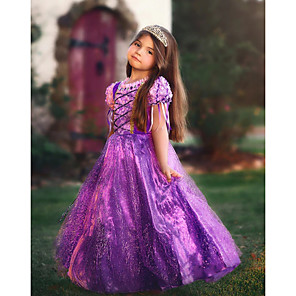 cheap Movie & TV Theme Costumes-Princess Rapunzel Cosplay Costume Flower Girl Dress Kid's Girls' A-Line Slip Dresses Mesh Christmas Halloween Carnival Festival / Holiday Tulle Cotton Purple / Purple (With Accessories) Carnival