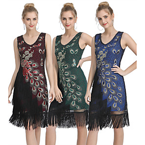 cheap Historical & Vintage Costumes-The Great Gatsby Vintage 1920s Flapper Dress Women's Sequins Tassel Fringe Costume Black / Red / Green Vintage Cosplay Party Homecoming Prom Sleeveless