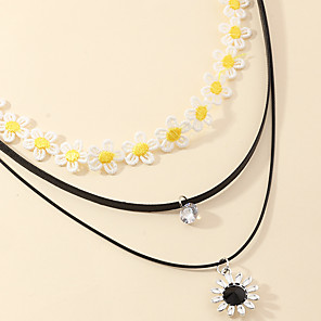 cheap Necklaces-Women's Pendant Necklace Necklace Stacking Stackable Daisy Classic Rustic Trendy Fashion Cord Chrome Black 40.5 cm Necklace Jewelry 2pcs For Party Evening Street Birthday Party Beach Festival