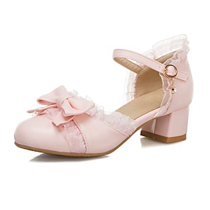 cheap Kids' Sandals-Girls' Sandals Flower Girl Shoes Suede Block Heel Sandals Big Kids(7years +) Bowknot / Buckle White / Pink / Beige Spring / Summer / Party & Evening / Rubber