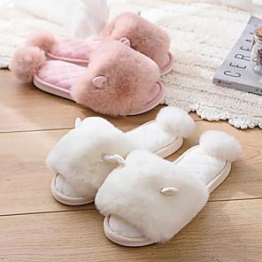 cheap Women's Sandals-Women's Slippers & Flip-Flops Fall / Winter Flat Heel Open Toe Home PVC Black / Purple / Pink / Fuzzy Slippers