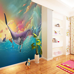 cheap Wallpaper-Custom Self-adhesive Mural Wallpaper Color Sky Children Cartoon Style Suitable For Bedroom Wall Decoration Canvas Material Adhesive required Wallpaper  Wall Cloth