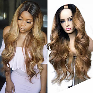 cheap Synthetic Trendy Wigs-Remy Human Hair Wig Long Body Wave U Part Multi-color Fashion For Black Women U Part Brazilian Hair Women's Ombre Black / Medium Auburn 8 inch 10 inch 12 inch