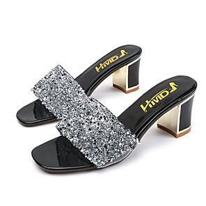 cheap Women's Sandals-Women's Slippers & Flip-Flops Summer Block Heel Open Toe Daily PU Black / Silver / Beige