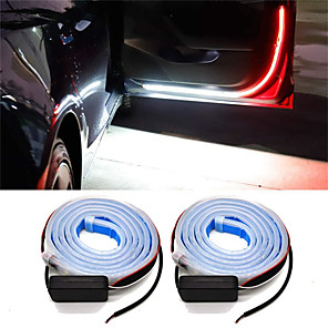 cheap Warning Lights-2pcs Car Door Warning Lamp Auto Door LED Strip Light Universal Door Open Lights Strobe Safety Ambient Lamps 120cm Fexible Strips 12V