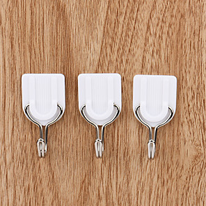 cheap Bathroom Gadgets-6pcs Self Adhesive White Wall Hanger Sticky Door Hooks Home Aid