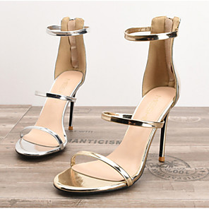 cheap Women's Sandals-Women's Sandals Summer Stiletto Heel Round Toe Daily PU Gold / Silver