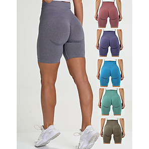 cheap Exercise, Fitness & Yoga Clothing-Women's High Waist Yoga Shorts Seamless Shorts Butt Lift 4 Way Stretch Moisture Wicking Purple Red Blue Nylon Gym Workout Running Fitness Sports Activewear High Elasticity Slim