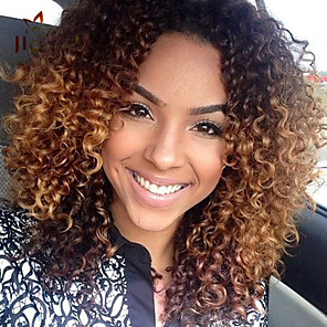 cheap Synthetic Trendy Wigs-Synthetic Wig Afro Middle Part Wig Long Brown Synthetic Hair 18 inch Women's Odor Free Ombre Hair Exquisite Brown