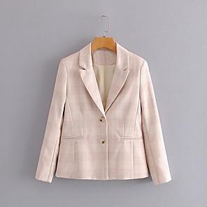 cheap Historical & Vintage Costumes-Women's Peaked Lapel Blazer Striped Blushing Pink S / M / L
