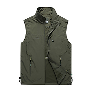 cheap Softshell, Fleece & Hiking Jackets-Men's Hiking Vest / Gilet Summer Outdoor Solid Color Windproof Breathable Quick Dry Top Camping / Hiking Hunting Fishing Black / Army Green / Khaki / Dark Blue