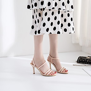 cheap Women's Sandals-Women's Sandals Spring / Fall Pumps Open Toe Party & Evening Office & Career PU Almond / Black / Yellow
