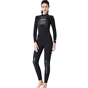 cheap Wetsuits, Diving Suits & Rash Guard Shirts-Dive&Sail Women's Full Wetsuit 3mm SCR Neoprene Diving Suit Thermal / Warm Quick Dry Long Sleeve Back Zip Knee Pads - Diving Surfing Water Sports Solid Colored Spring &  Fall / Stretchy