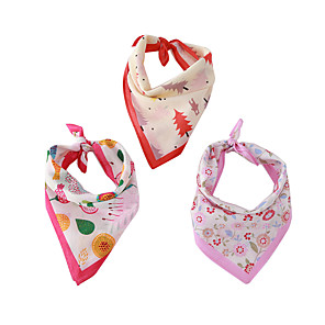 cheap Dog Clothes-Dog Cat Bandanas & Hats Dog Bandana Dog Bibs Scarf Floral Botanical Casual / Sporty Cute Party Sports Dog Clothes Adjustable Purple Red Pink Costume Cotton