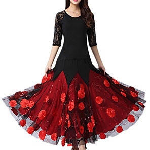 cheap Ballroom Dancewear-Ballroom Dance Dress Lace Appliques Women's Training Performance Half Sleeve Polyester