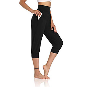 cheap Fitness Gear & Accessories-womens yoga joggers capri loose workout sweatpants comfy lounge pants with pockets black s