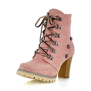 cheap Women's Boots-Women's Boots Cuban Heel Round Toe Casual Basic Daily Rivet Solid Colored PU Mid-Calf Boots Walking Shoes Yellow / Blue / Pink