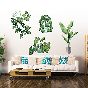 cheap Wall Stickers-Green Leaf Wall Stickers Decorative Wall Stickers, PVC Home Decoration Wall Decal Wall Decoration / Removable