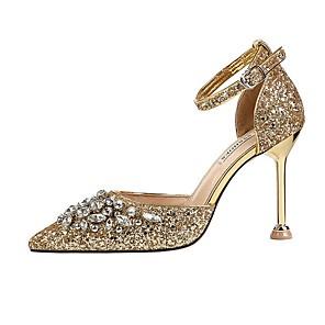 זול נעלי עקב לנשים-בגדי ריקוד נשים עקבים קיץ עקב סטילטו בוהן מחודדת יומי אחיד PU שחור / אדום / חום בהיר