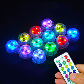 cheap Outdoor Wall Lights-12Pcs LED Remote Controlled RGB Submersible Light Battery Operated Underwater Night Lamp Fish Tank Pond Swimming Pool Aquarium Vase Christmas Wedding Party Decoration Lamp