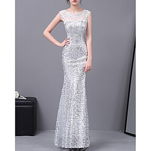 cheap Women's Sandals-Mermaid / Trumpet Elegant Sparkle Wedding Guest Formal Evening Dress Illusion Neck Sleeveless Floor Length Lace with Appliques 2020