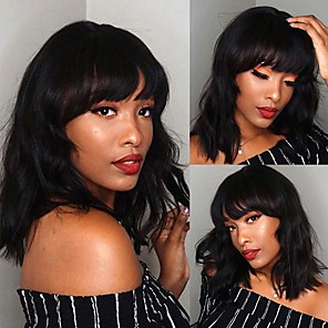 cheap Synthetic Trendy Wigs-Synthetic Wig Wavy Short Bob With Bangs Wig Medium Length Black Synthetic Hair 14 inch Women's Party Adorable Fashion Black