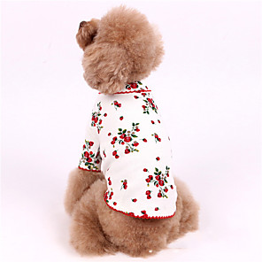 cheap Dog Clothes-Dog Shirt / T-Shirt Pajamas Flower Casual / Sporty Cute Party Casual / Daily Dog Clothes Warm White Pink Costume Cotton XXXS XXS XS S M L