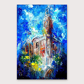 cheap Floral/Botanical Paintings-IARTS®Hand Painted Building building Oil Painting   with Stretched Frame For Home Decoration