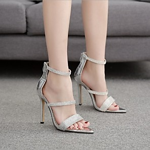 cheap Women's Sandals-Women's Sandals Summer Stiletto Heel Open Toe Daily PU Black / Silver