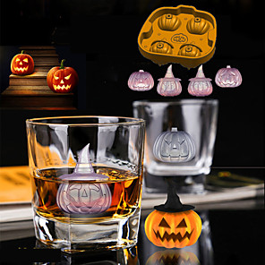 cheap Bathroom Sink Faucets-Halloween Pirate Pumpkin Ice Model Pumpkin Head 3D Ice Box Gift Chocolate Mold Ice Tools Full Body Silicone Cute Party Evening Drinkware
