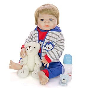 cheap Reborn Doll-KEIUMI 22 inch Reborn Doll Baby & Toddler Toy Reborn Toddler Doll Baby Boy Gift Cute Washable Lovely Parent-Child Interaction Full Body Silicone 23D56-C216-T19 with Clothes and Accessories for Girls