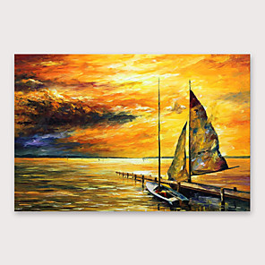cheap Abstract Paintings-IARTS®Hand Painted Sunset glow Oil Painting   with Stretched Frame For Home Decoration