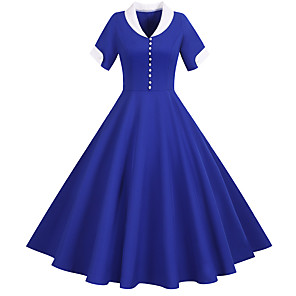 cheap Historical & Vintage Costumes-Vintage Inspired Dress Women's Buckle Costume Light Sky Blue / Yellow / Blushing Pink Vintage Cosplay Home Short Sleeve Midi A-Line